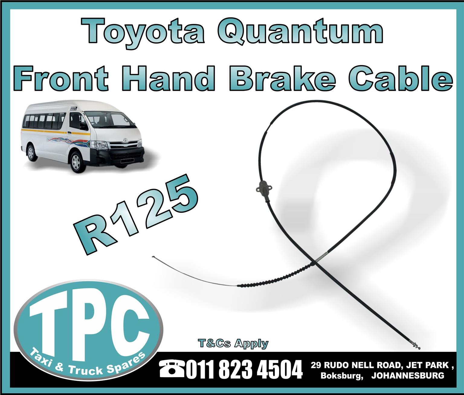 Toyota Quantum Hand Brake Cable - New And Used Replacement Taxi Parts -TPC.