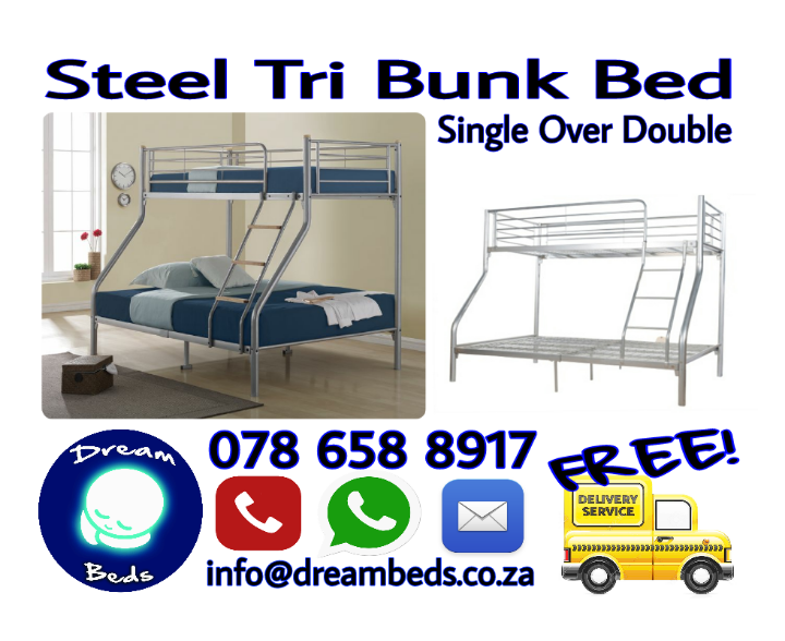 FREE DELIVERY New STEEL TRI BUNK BED Single over Double Bed