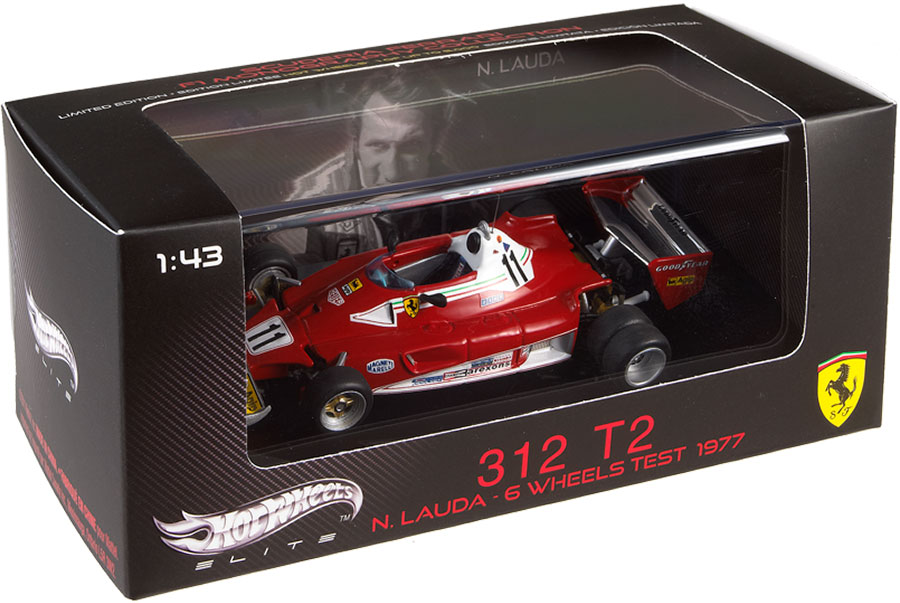 Hot Wheels Elite V8380 Ferrari 312 T2 6 Wheels Test 1977 - Niki Lauda 1/43 Scale (Limited Edition of 5000)