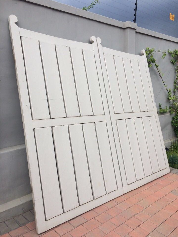 Heavy duty steel frame gate with solid wood inserts. | Junk Mail
