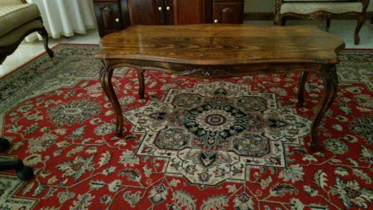 Solid wood coffee table and matching side tables