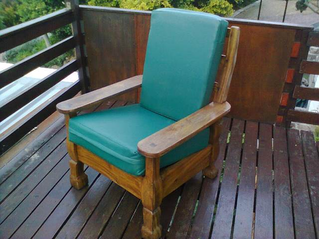 Newly upholstered solid oak chair