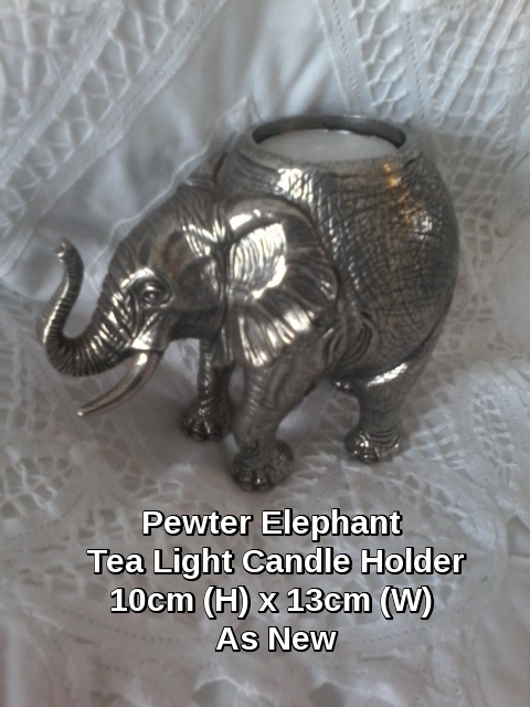Original SA Design Pewter Elephant tea-light holder. As New. Unused.