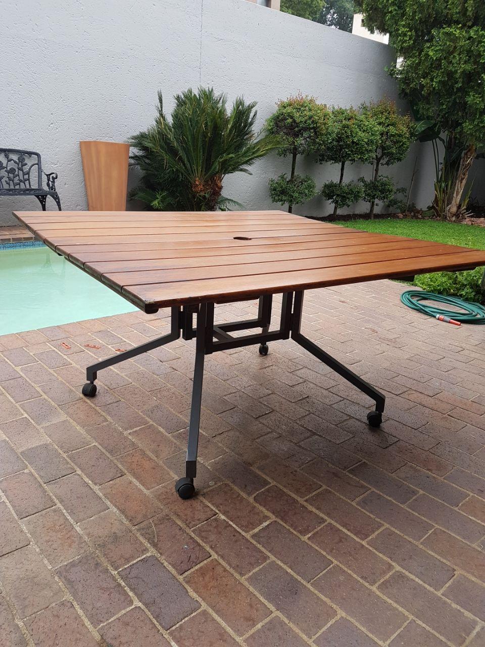 Wooden foldup table, 1.4m x 1.4m, good condition