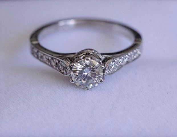 0.6ct Moissanite and Diamond engagement ring for sale - Willing to negotiate on price.