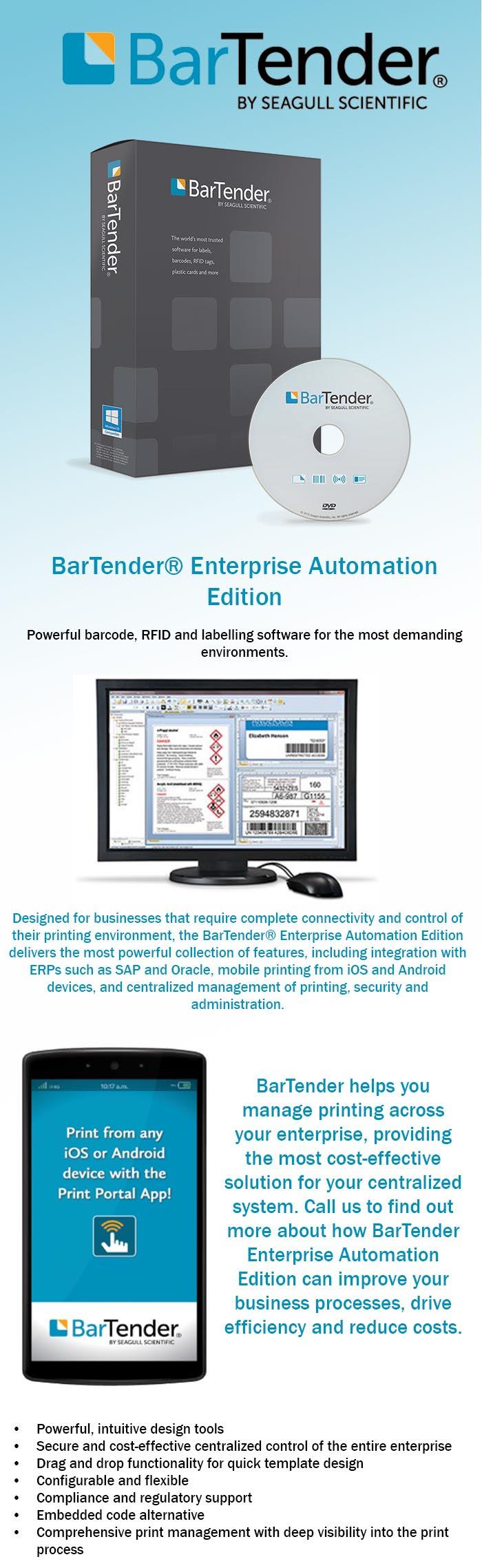 The BarTender 2016 Enterprise Automation Edition Software
