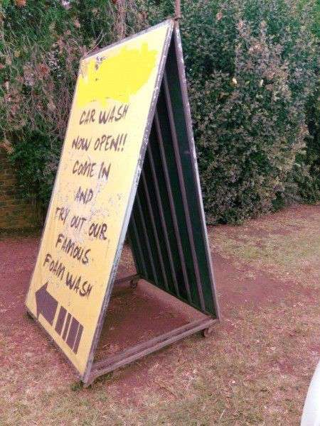 1x Solid Signage Frame & 1x solid Triangle outdoor Advertising Frame with lockable wheels for Sale.