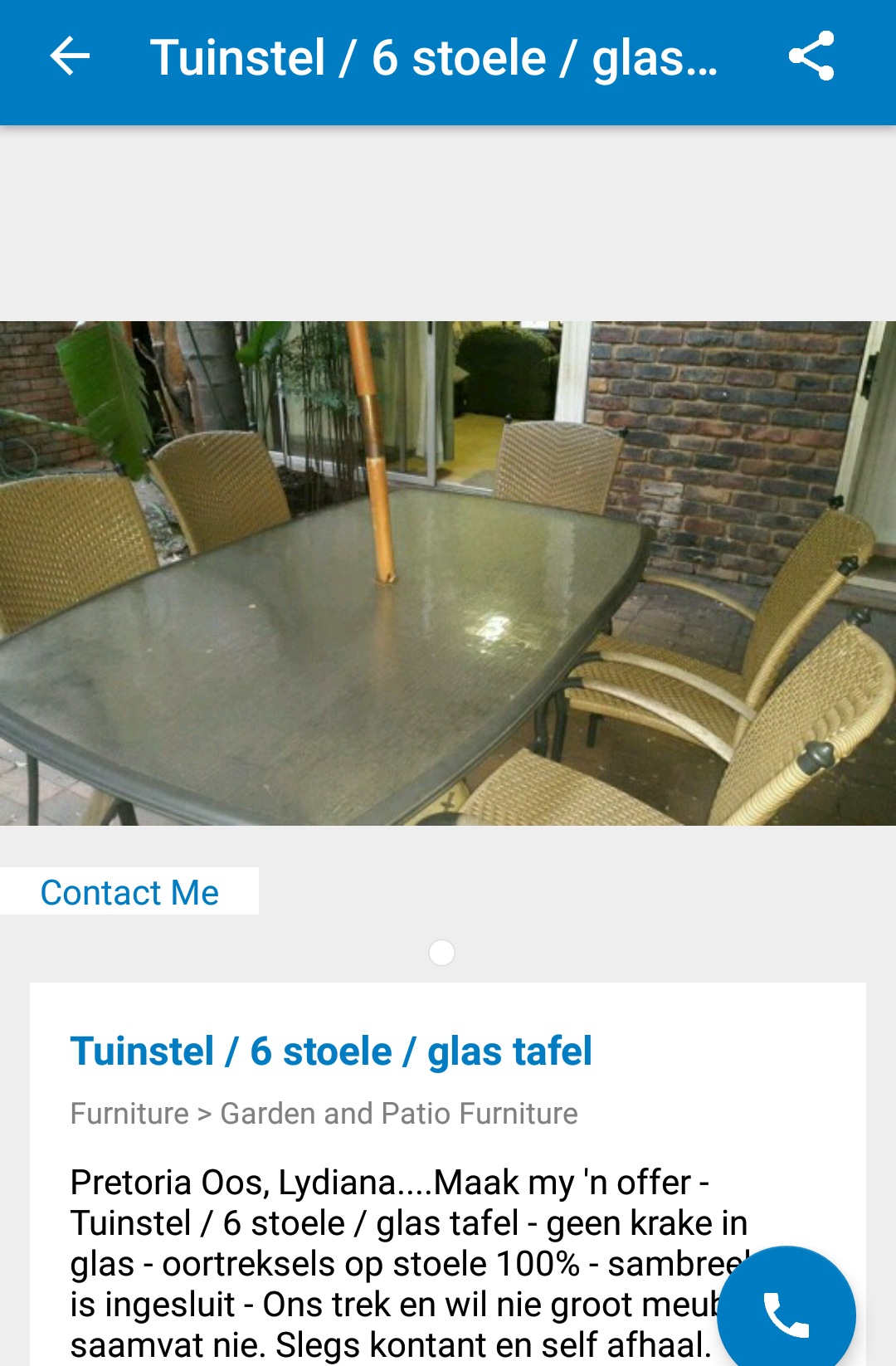 Looking to buy Garden/Patio Glass Table and Chairs