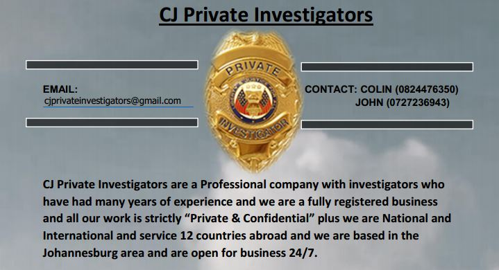 C J PRIVATE INVESTIGATORS - PROFESSIONAL SERVICES 24/7 - CONTACT JOHN: