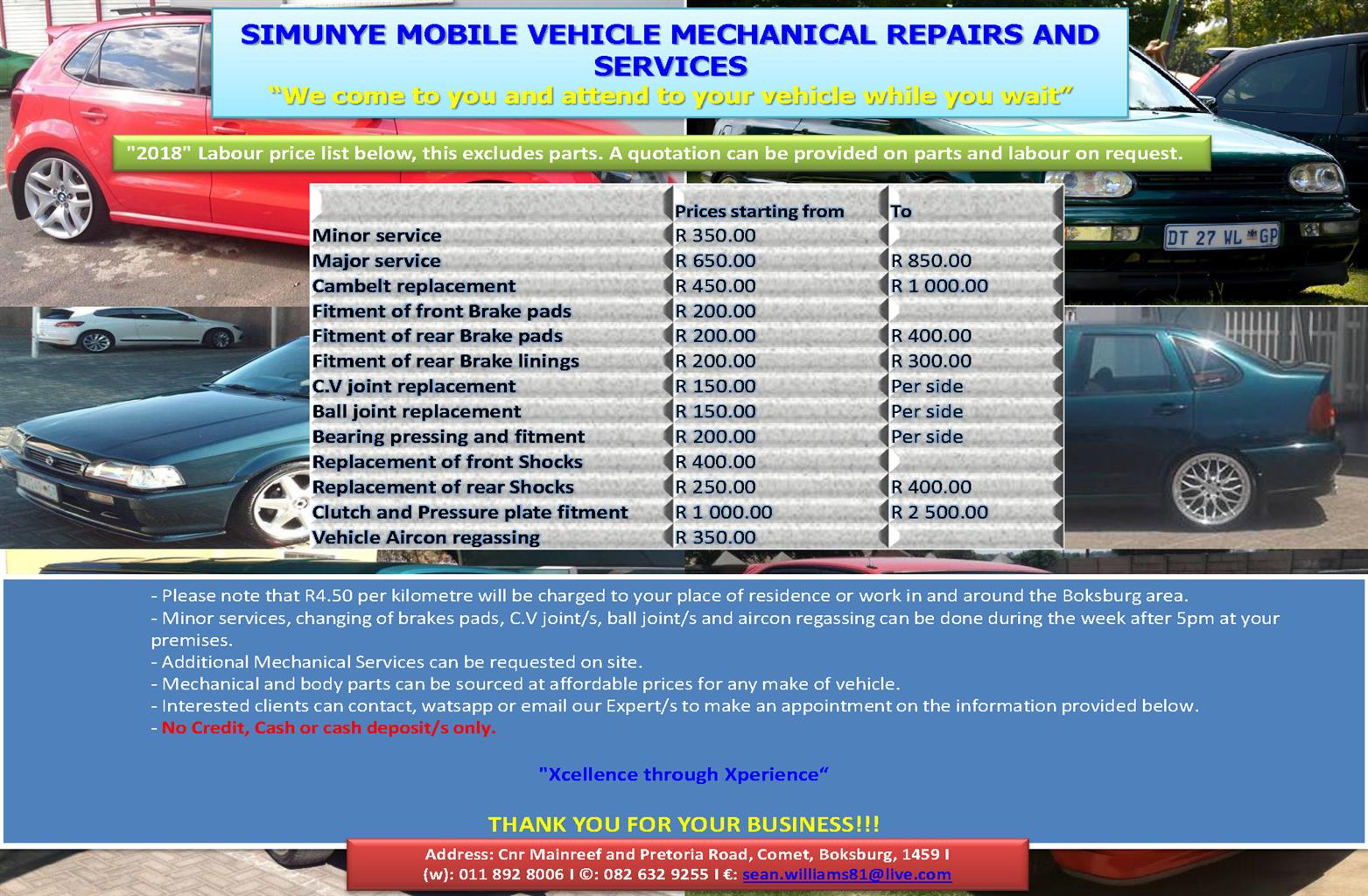 "SIMUNYE MOBILE VEHICLE MECHANICAL REPAIRS AND SERVICES ""We"