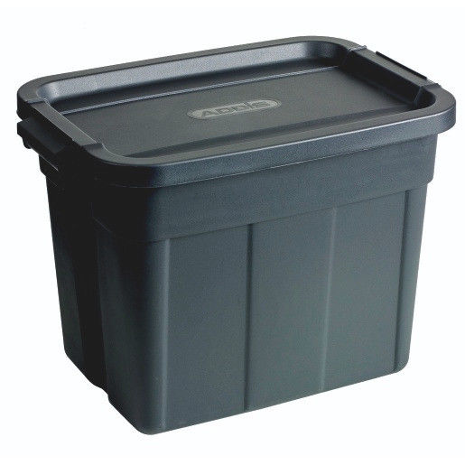 Black storage bin with clip on lid approx 50litre