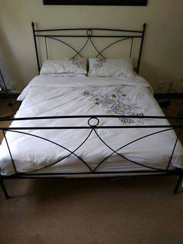 Queen size wrought iron sleigh bed with mattress