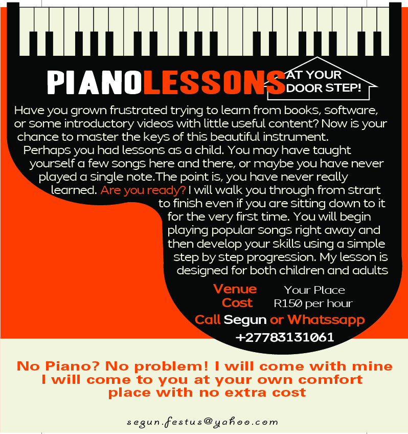 Piano Lessons at your door step!!!