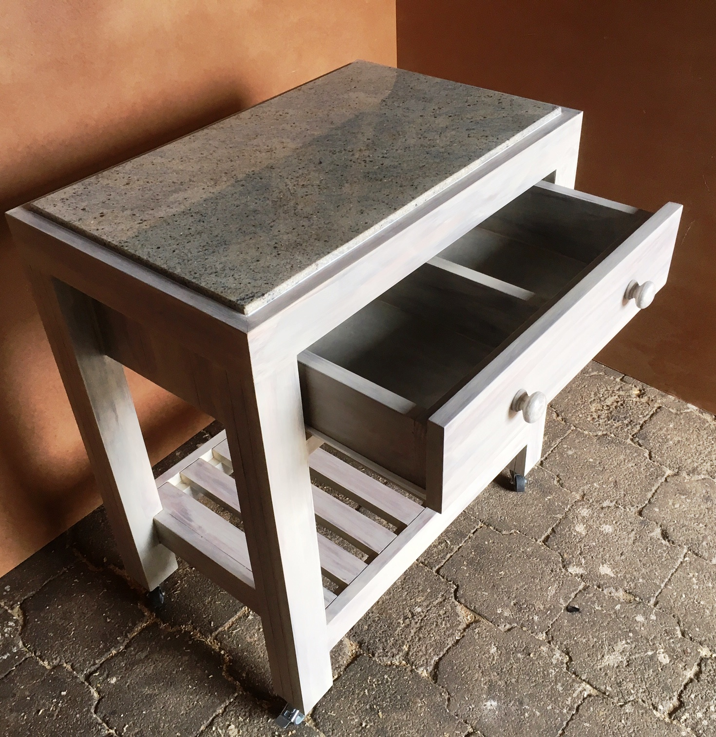 Butchers Block Chunky Farmhouse series 800 with 1 drawer - Grey washed