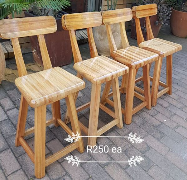 High wooden bar chairs