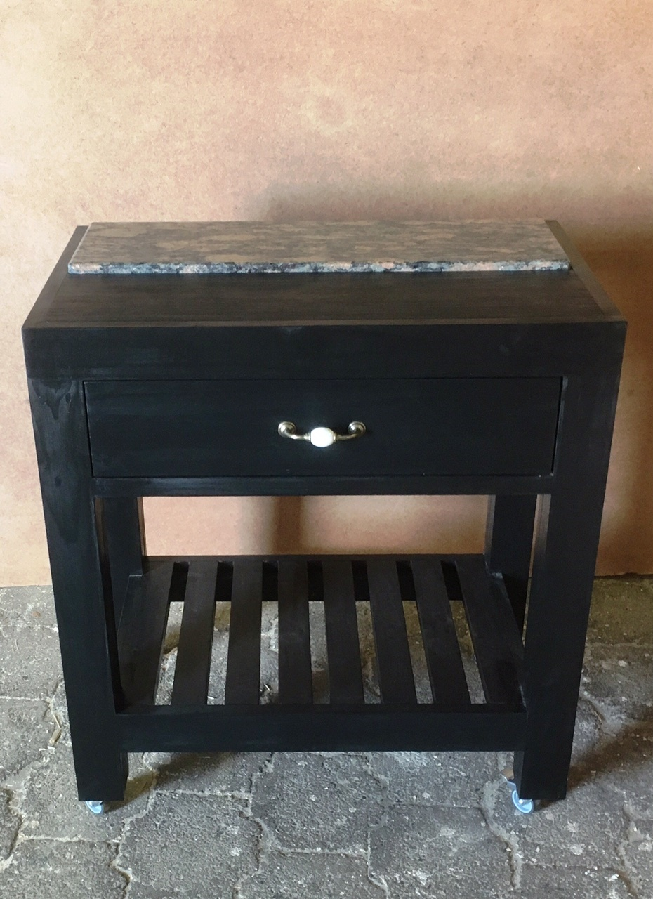 Butchers Block Farmhouse series 800 with 1 drawer Stained Black