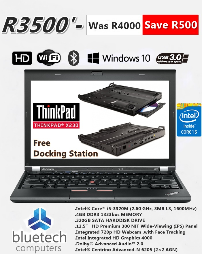 Lenovo X230 ThinkPad, i5-3230M, 4GB, 320GB, 12.5'HD, Docking Station, Bluetech computers