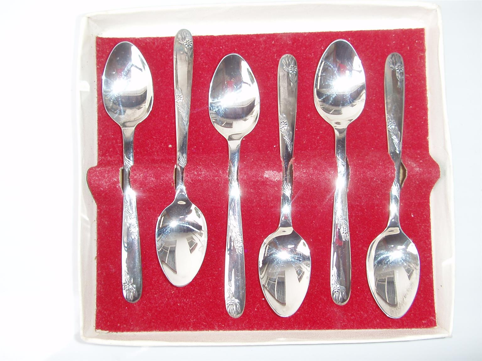 6 EPNS Teaspoons Angora Silver Plate - Made in England - Vintage