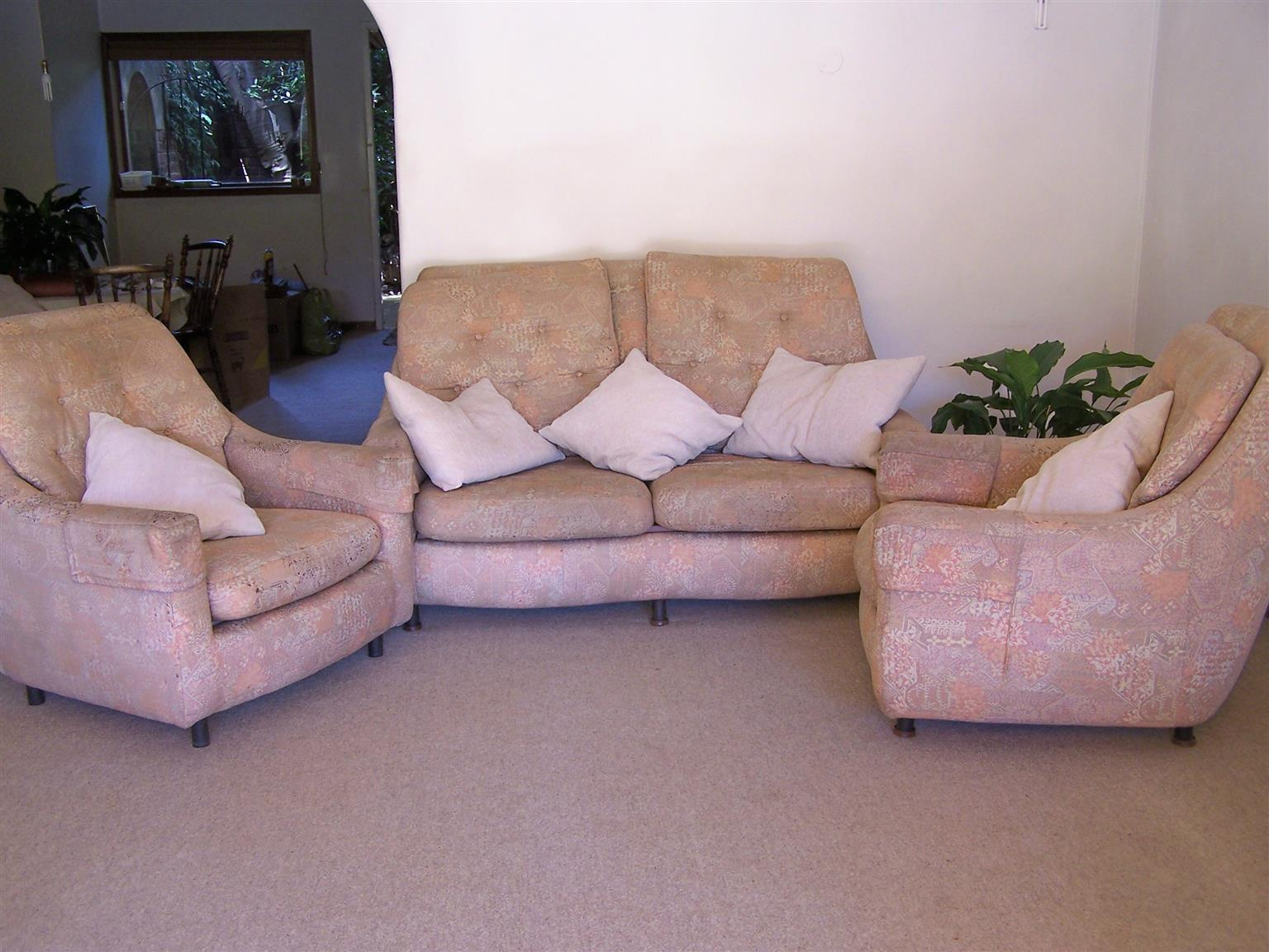 Lounge suite 3 piece upholstered on everlasting fibre glass