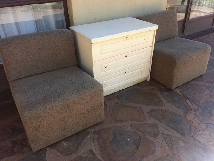 Chest of drawers and 2 single couches