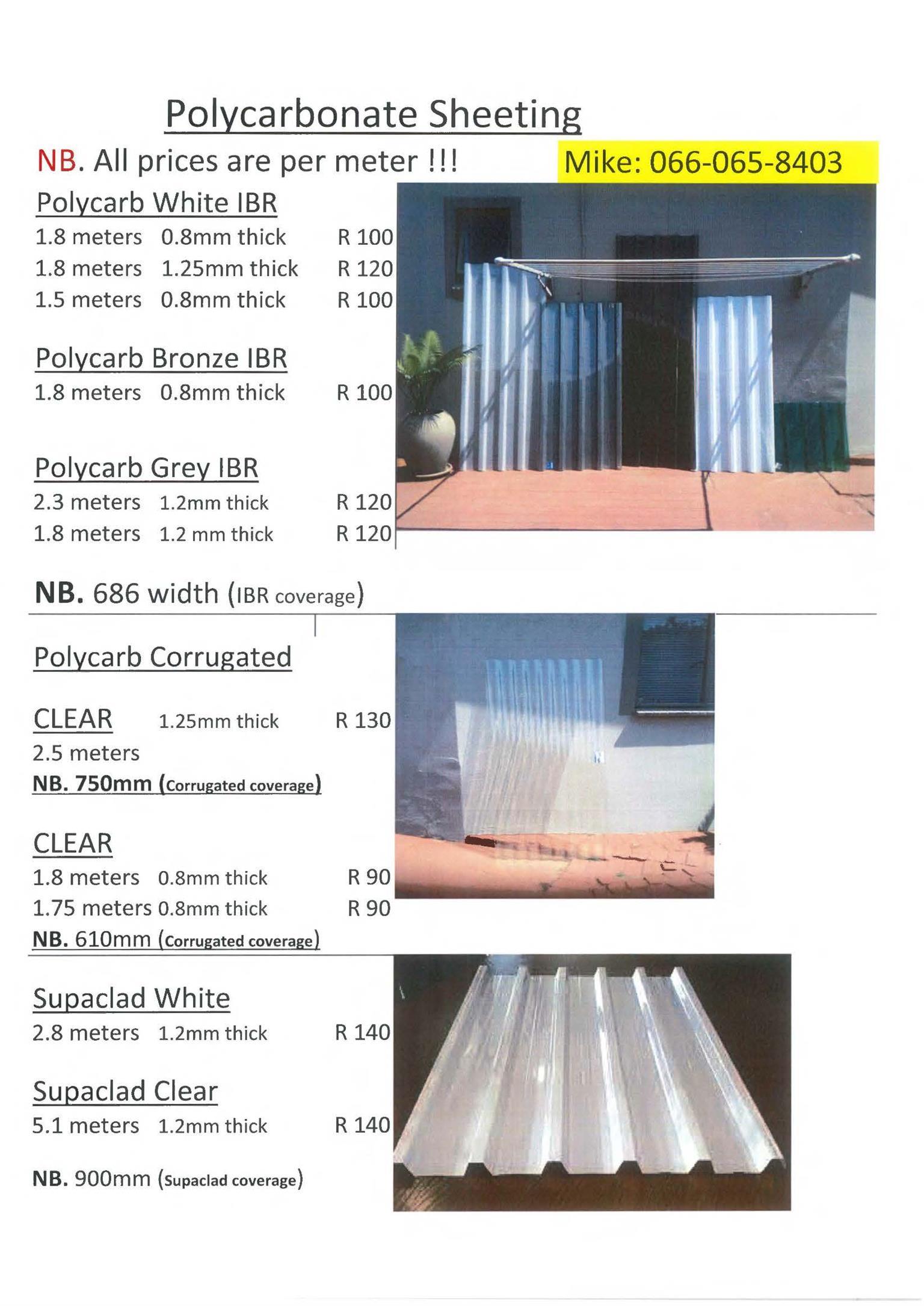 Polycarbonate Sheeting. Fibre glass sheting