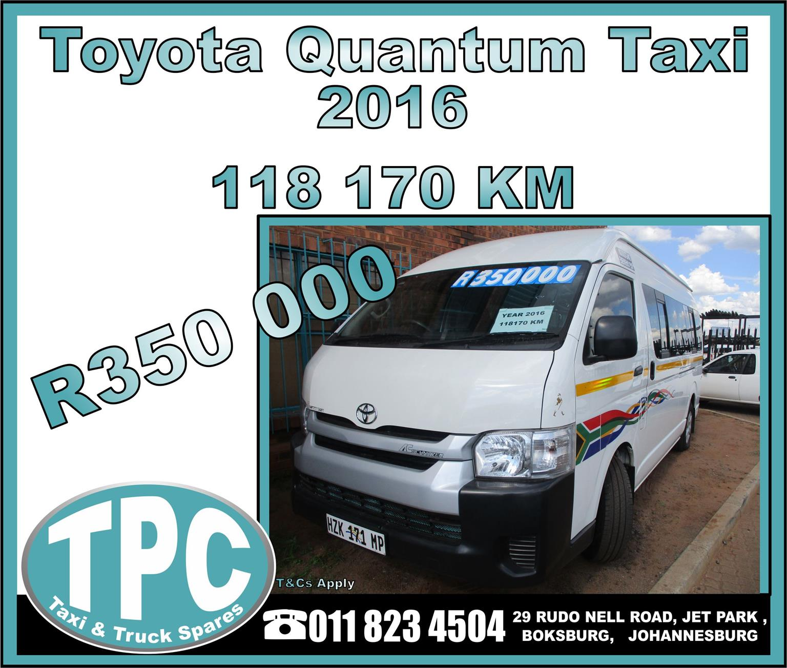 Toyota Quantum Taxi - 2016 - Excellent Condition - TPC Rebuild Yard.