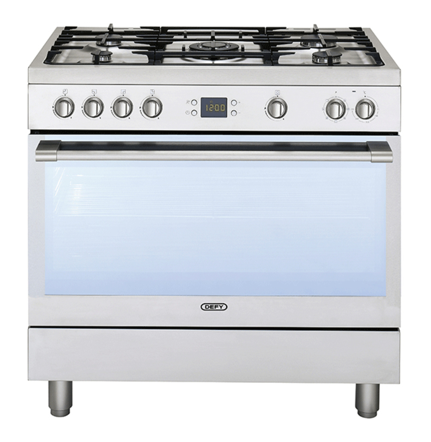 SAVE BIG ON DEFY 900MM 5 BURNER GAS ELECTRIC STOVE STAINLESS STEEL