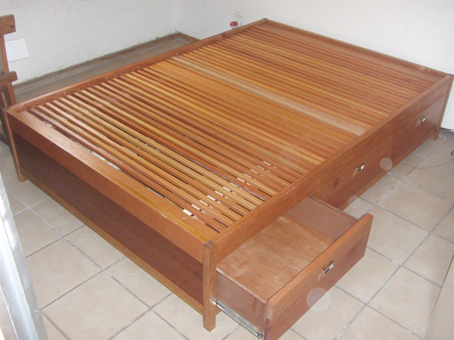 Solid wood Double bed, colonial travel bed.