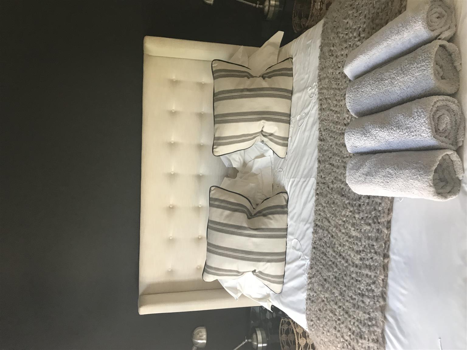 Queen Size Headboard, bed and mattress