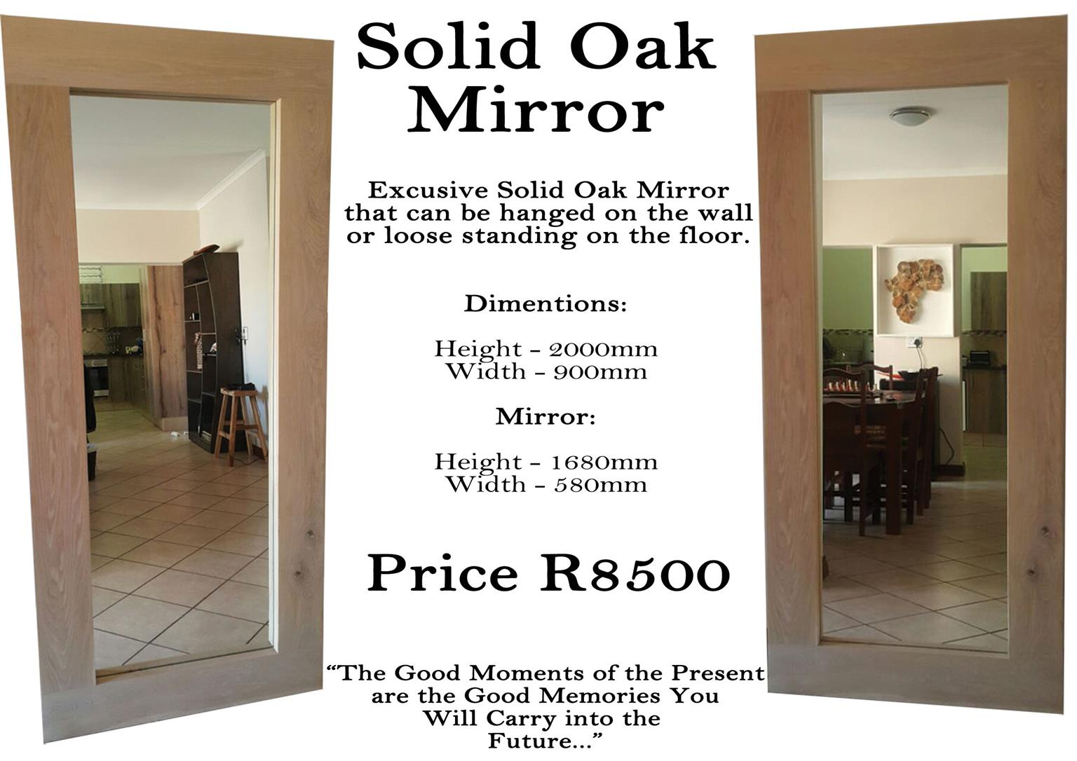 Solid oak mirror.