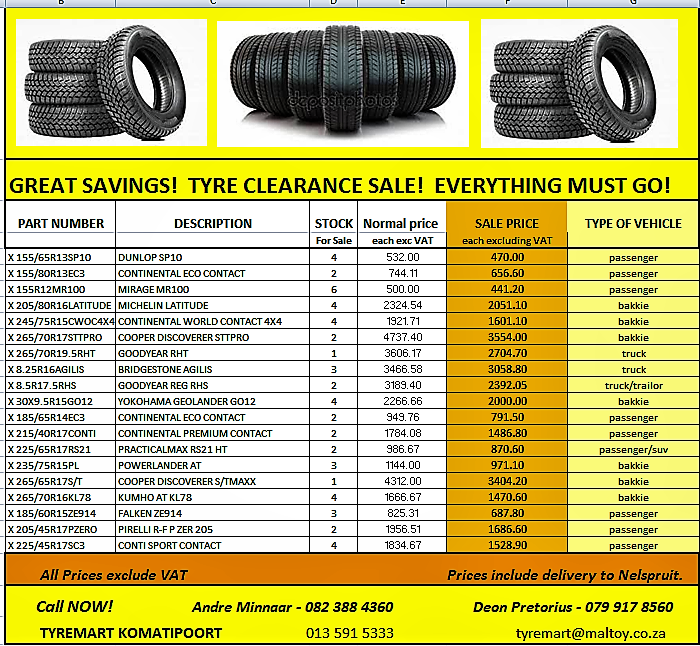 LOW PRICES!  SALE of TYRES! EVERYHTING MUST GO!