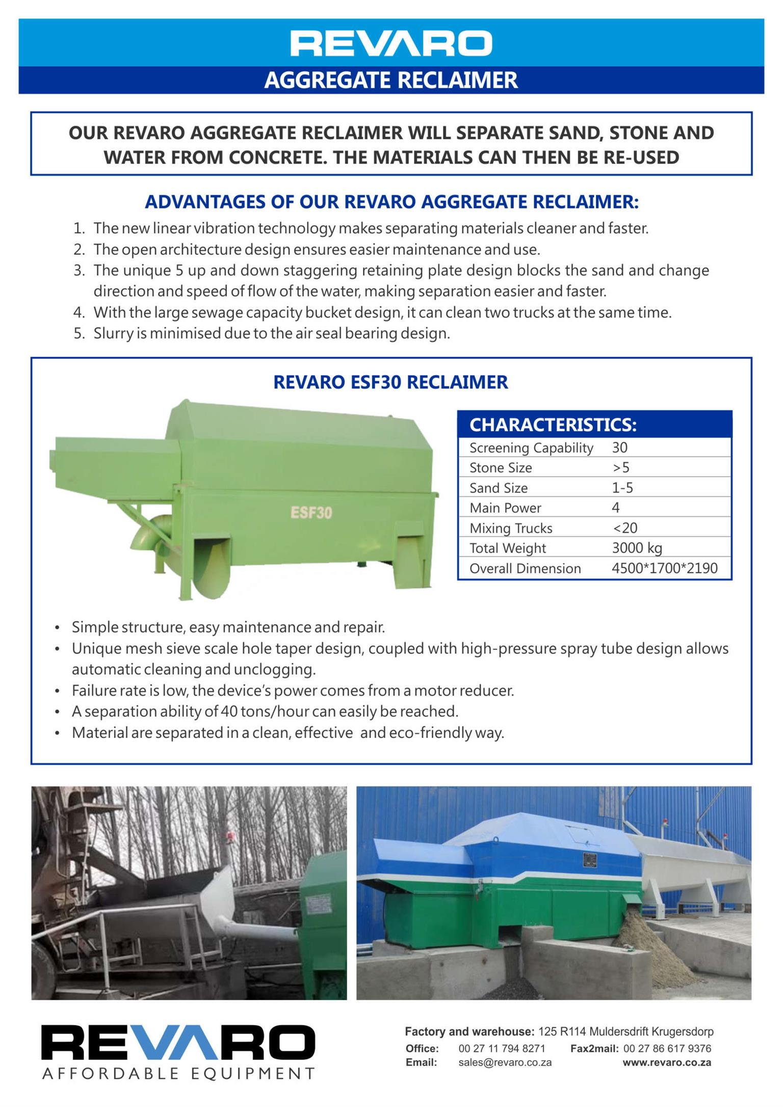 Aggregate Reclaimer Will separate cements from sand and stone aggregates