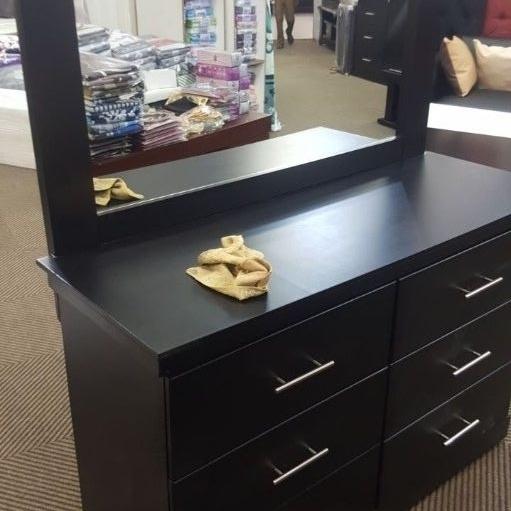 New black wooden dresser with mirror