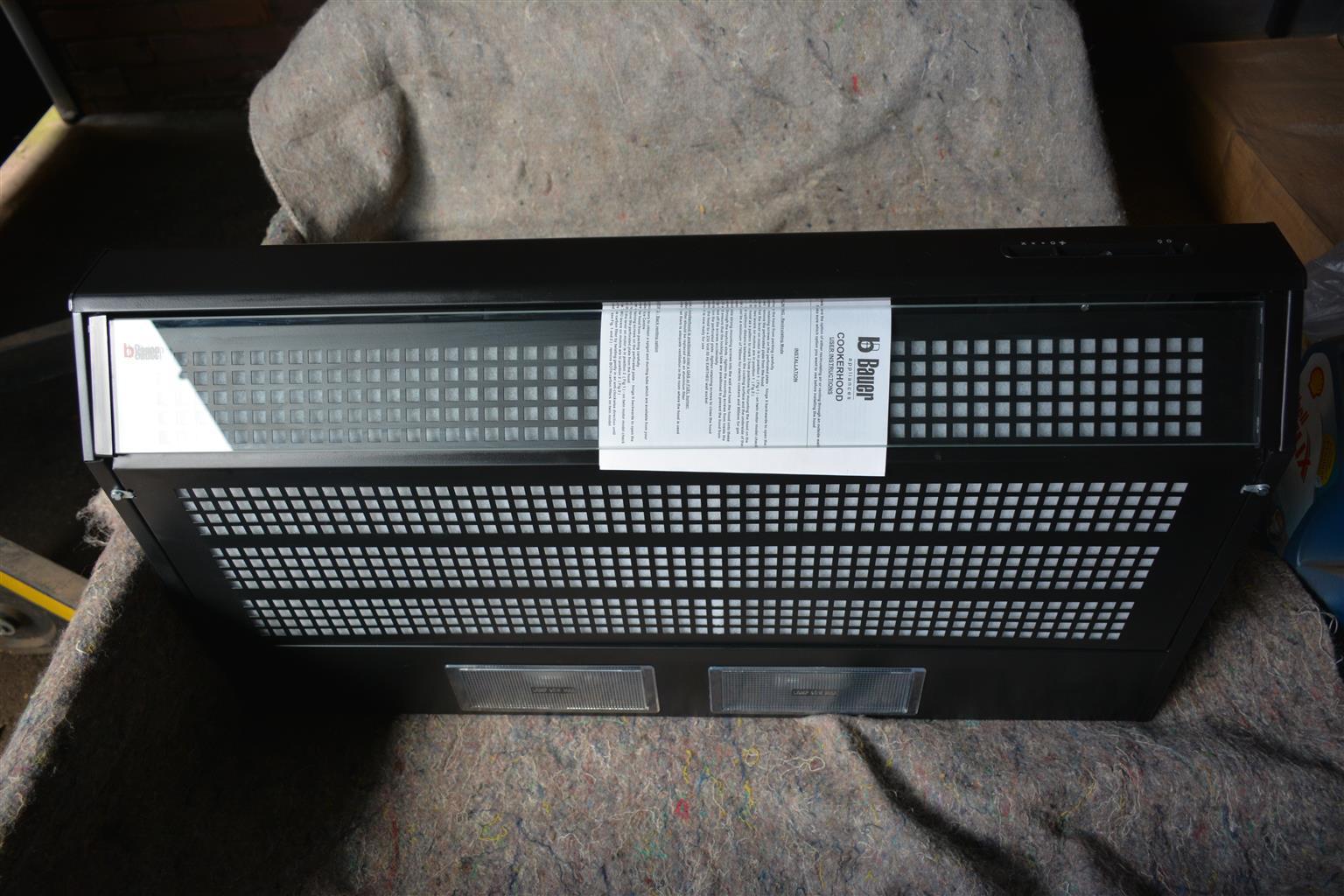 Cookerhood 900mm black ( Single Fan) NEW