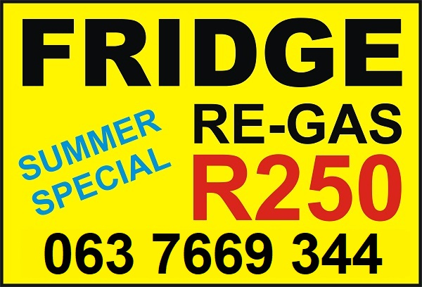 Fridge Re-gas Special R250 | All Areas | No Call Out Fee | Repairs