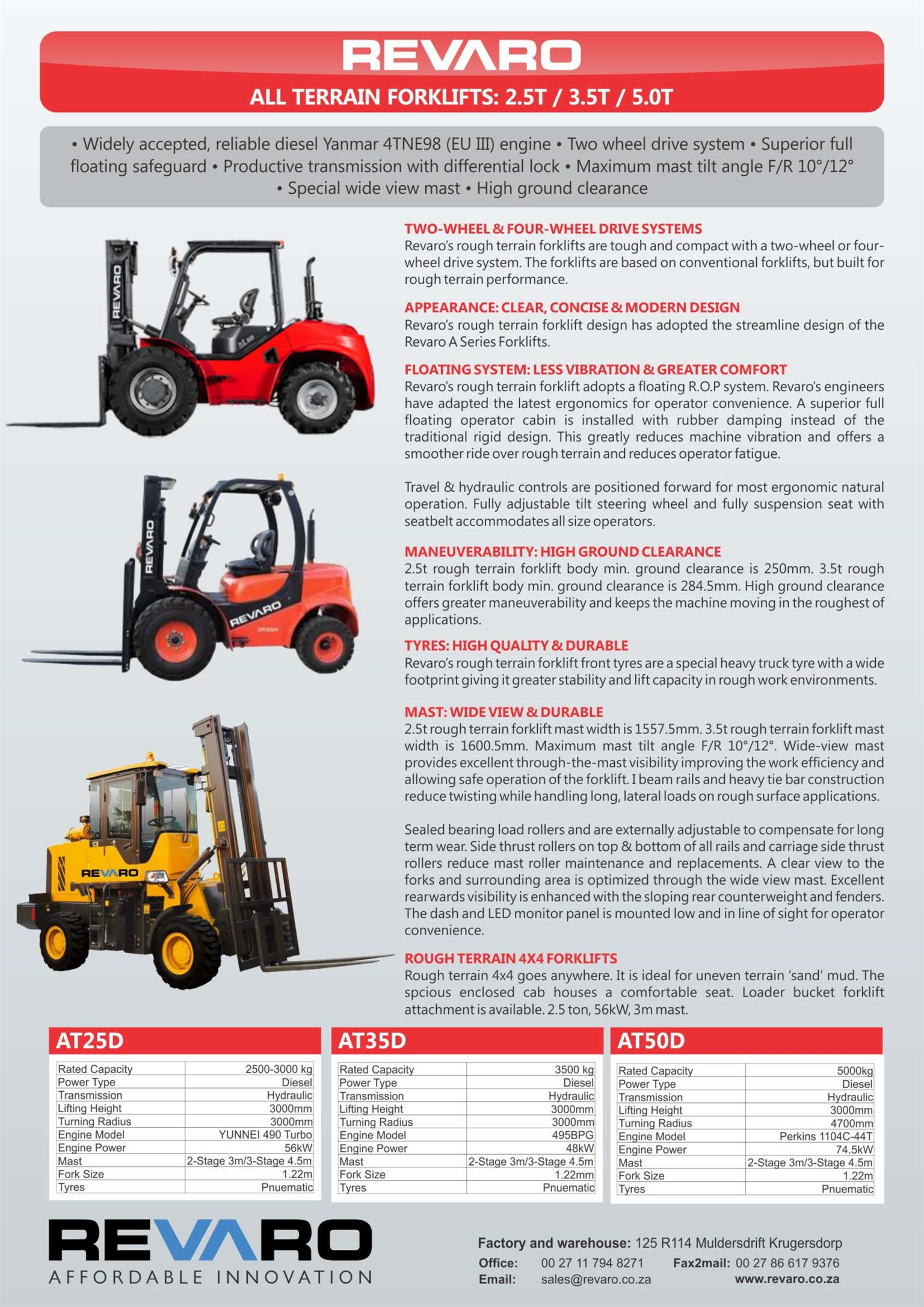 Forklifts All terrain 2,5-3,5 amd 5tons