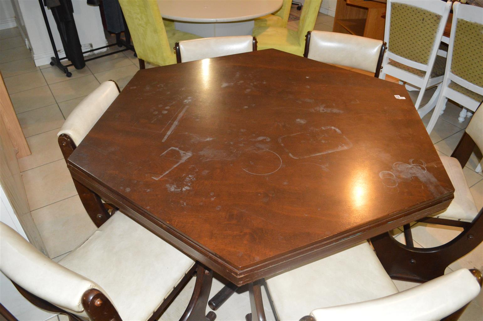 Dark wood dining room table