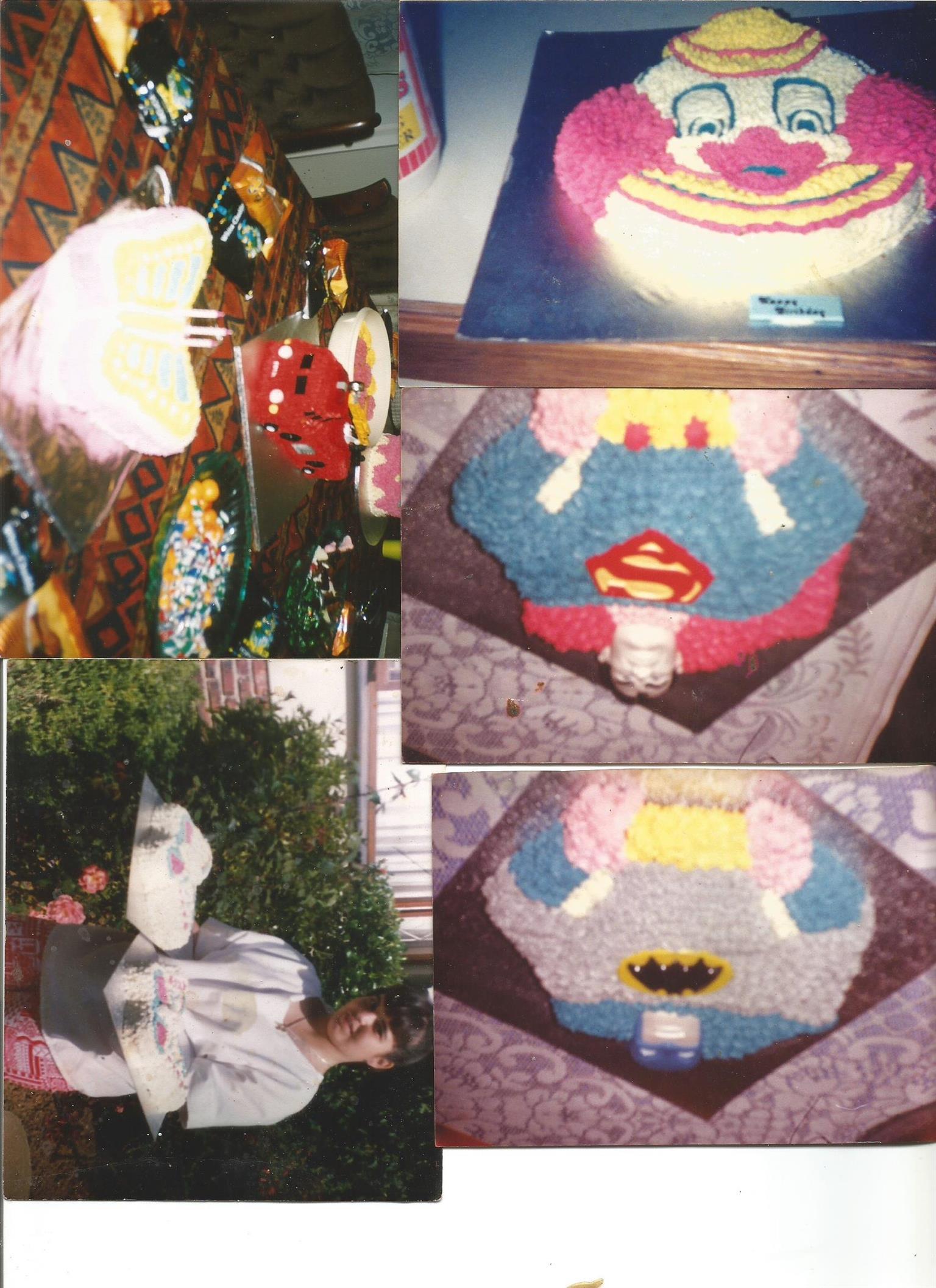 Molds for decorative cakes including Super man, Batman, Clowns & Butterflies