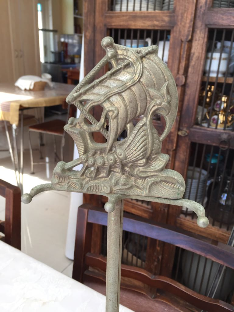 Vintage brass Fireiron Holder/Stand - lots of character