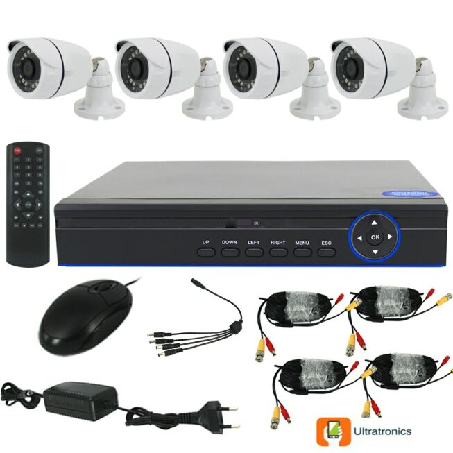Full HD AHD CCTV Kit - 4 Channel CCTV DIY camera system - 4 Bullet Cameras
