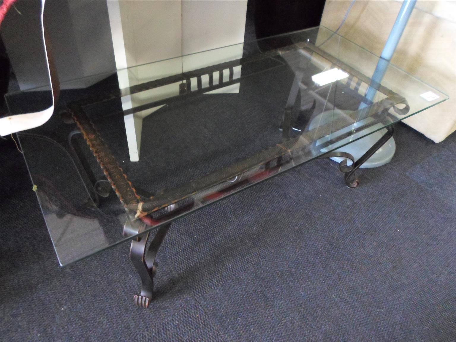 Glass Coffee Table - Metal Frame