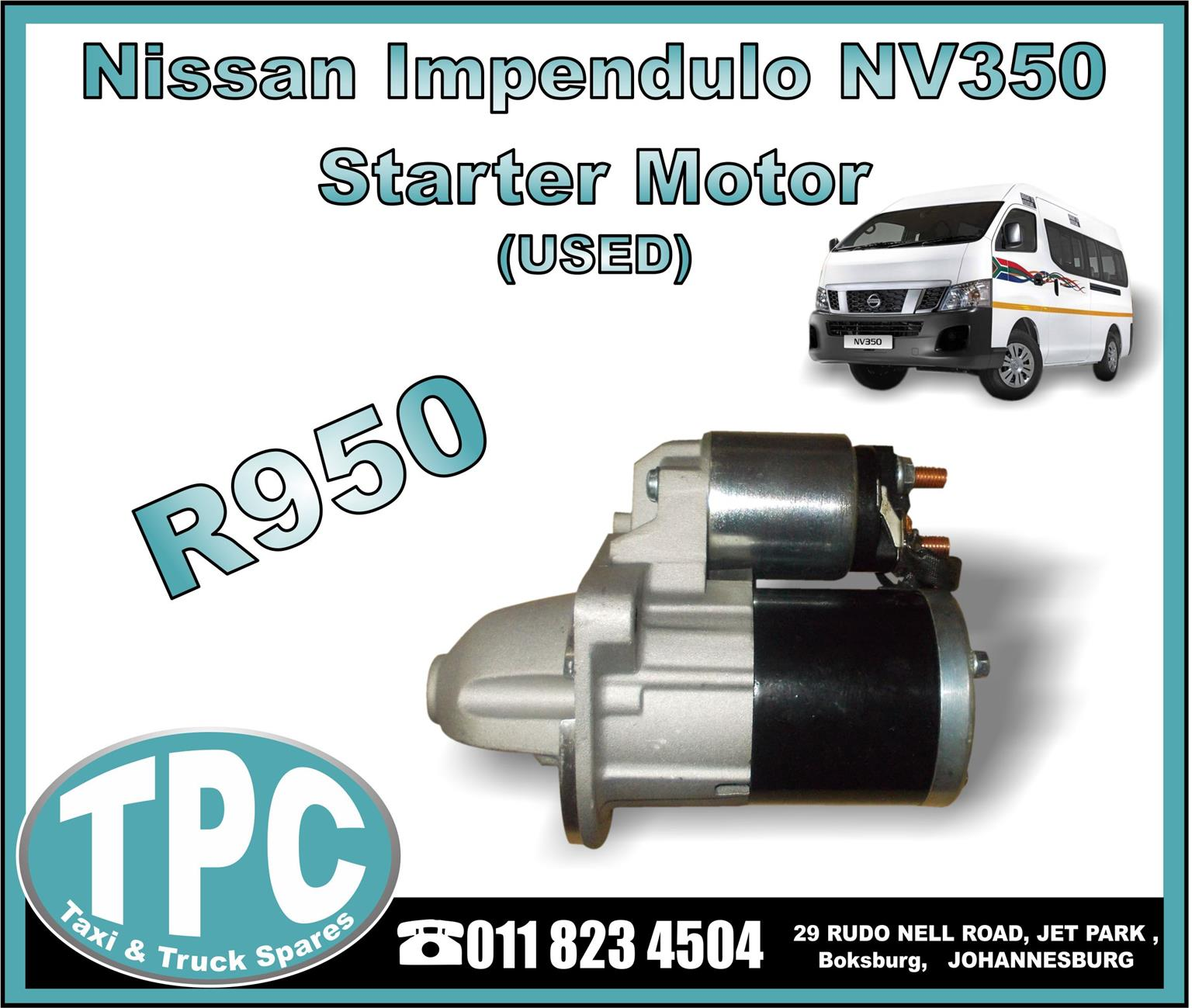 Nissan Impendulo NV350 - Starter Motor - USED -New And Used Replacement Taxi Parts - TPC