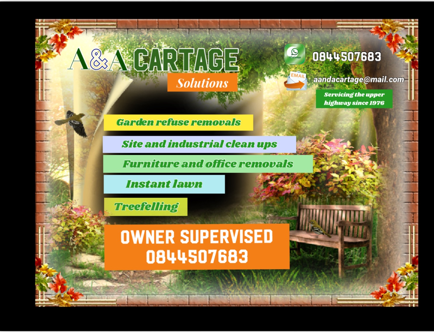Refuse removals, tree felling and instant lawn