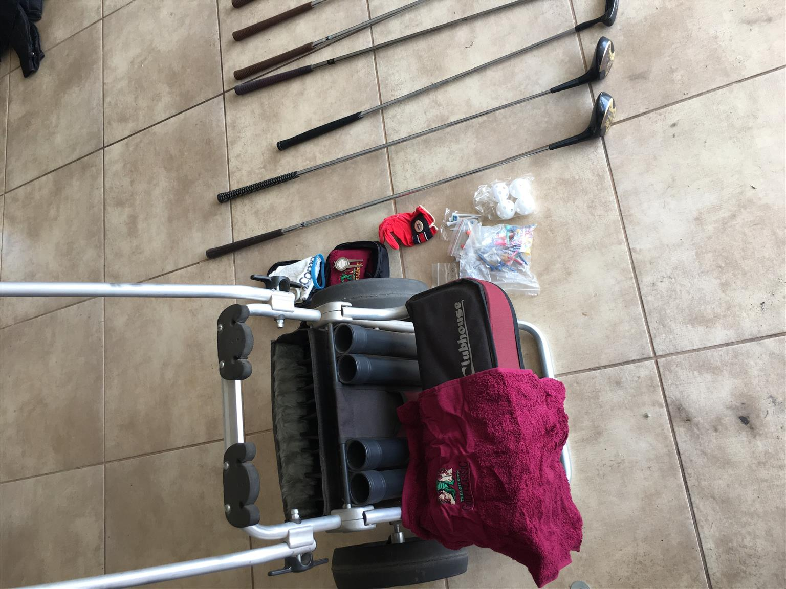 Golf set, cart, and accesories plus about 50 balls