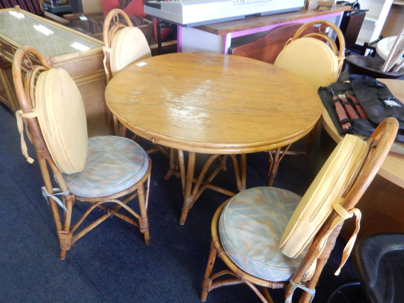 Cane Dining Room Suite + 4 Material Chairs