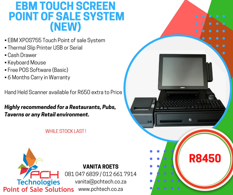 EBM Touch Screen  Point of Sale System (new) R8450