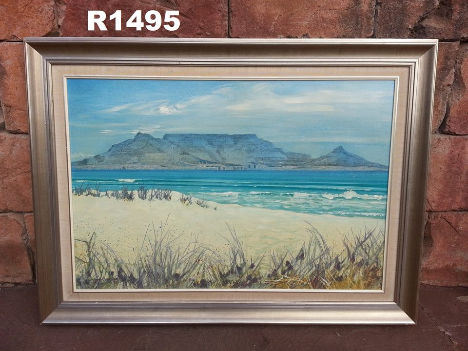 Beach view mountain painting