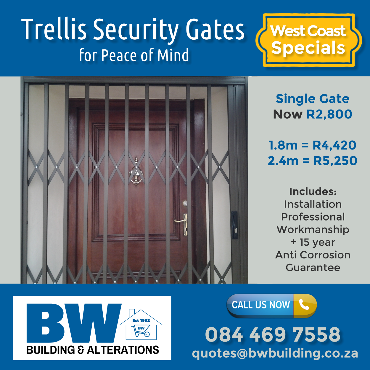 Trellis security gates and burglar Bars