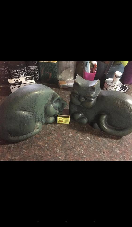 Green cat ornaments