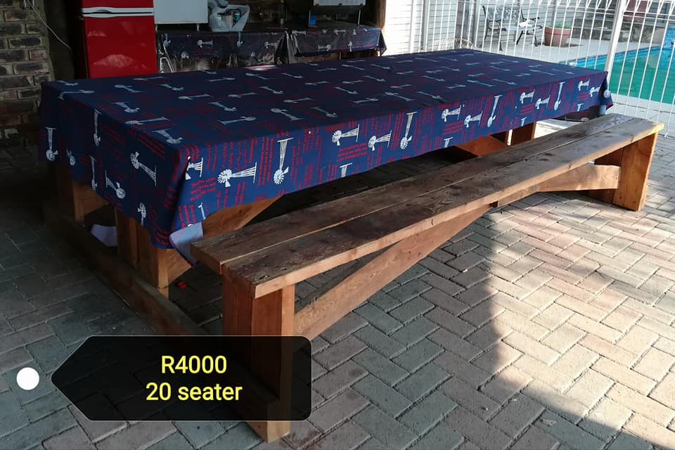 20 Seater patio bench table set